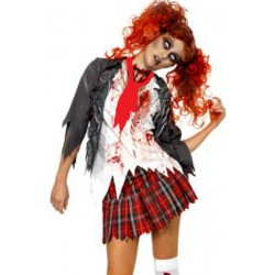 Vestito costume donna halloween zombie scuola set top + cravatta + gonna moda