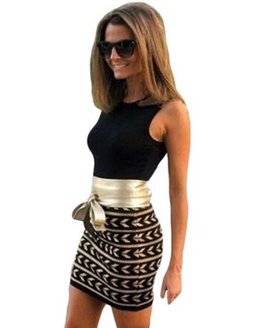 Short mini dress sexy women sleeveless dress with belt fitting cocktail