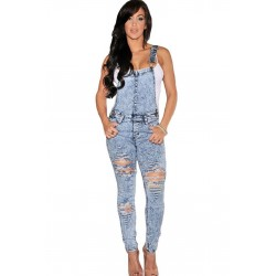 Sexy salopette tuta overall jeans donna intera jumpsuit denim stretch aderente