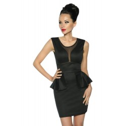 Sexi Mini abito tubino dress peplum nero smanicato Cerimonia discoteca donna hot
