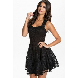 Sexi miniabito NERO palloncino pizzo vestito corto donna gonna svasata party hot