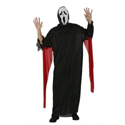 COSTUME FANTASMA HALLOWEEN CARNEVALE UOMO SCREAM nero cosplay travestimento