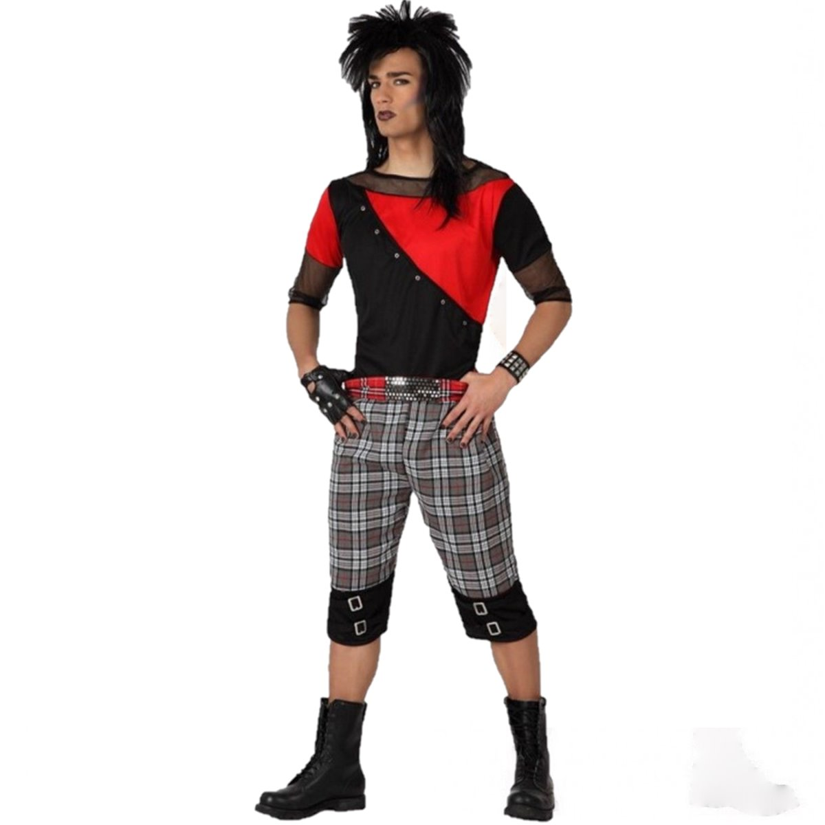 Details About Carnival Costumes Punk Emo Man Gothic Cosplay Halloween  Jersey + KIT MAKEUP