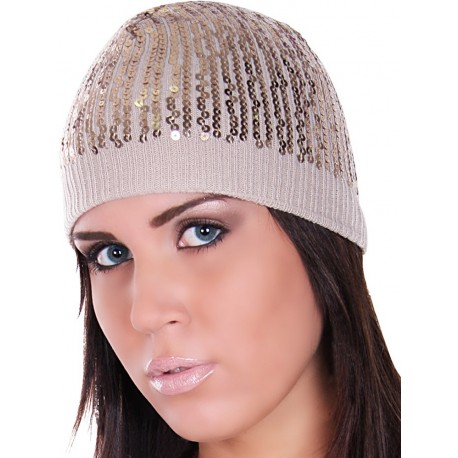 Cappello beige oro paillettes dorate donna sexy moda fashion autunno inverno look trendy sexi [HUT2-GOLD]