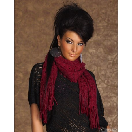 Sciarpa donna rossa bordeaux con frange trendy sexy moda stile fashion idea regalo Natale sexi [10027-3]