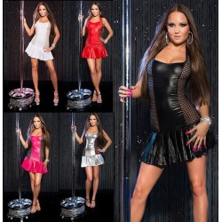 VESTITO DA DONNA SEXY Mini abito CORTO wet look discoteca cubista VESTITINO PARTY BALLO MODA NUOVO FASHION RETE MINIDRESS tu