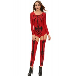 Travestimento costume tuta scheletro bodystocking catsuit halloween skeleton