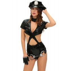 Costume donna poliziotta cosplay adulto travestimento carnevale halloween hot