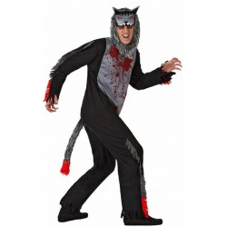 Costume da Lupo morto Insanguinato assassino Uomo Horror Halloween carnevale