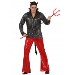 Costume uomo Diavolo Demonio Disco Discoteca anni 80 sera Halloween festa party