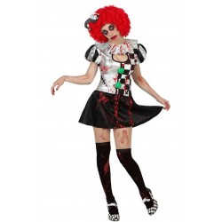 Costume Pierrot Zombie Halloween insanguinato Sexy carnevale horror clown party