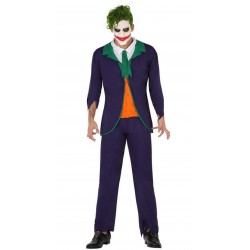 Costume JOCKER clown ADULTO Batman UOMO HALLOWEEN HORROR Carnevale FANCY DRESS
