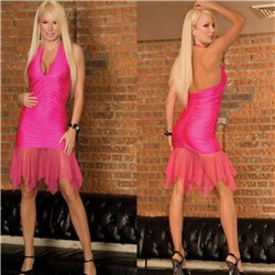 Vestito da donna corto mini abito festa ballo vestitino party fucsia rosa cl085