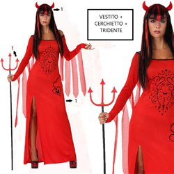 Costume halloween carnevale donna diavoletta travestimento cerchietto + FORCONE