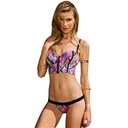 Sexy costume mare bagno bikini multicolore top + slip piscina coppe sagomate hot