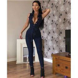 Tuta da donna blu jeans overall intera jumpsuit skinny denim sexy sera party new